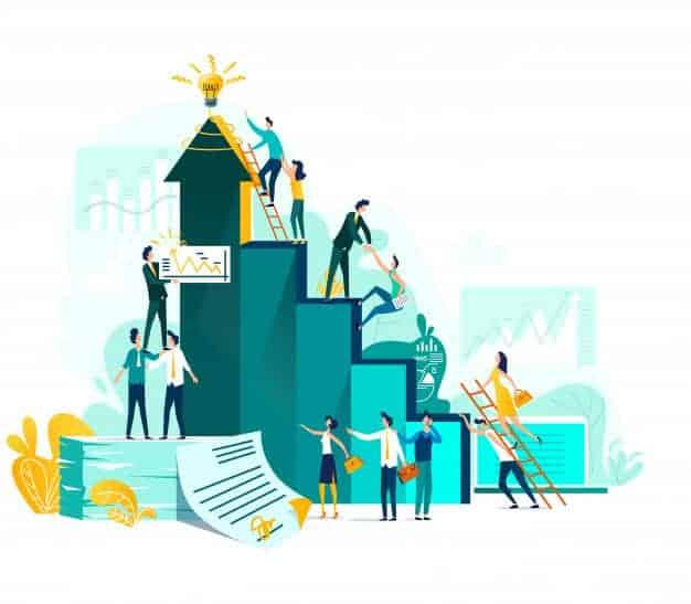 goal achievement teamwork business concept career growth cooperation development project 107791 29